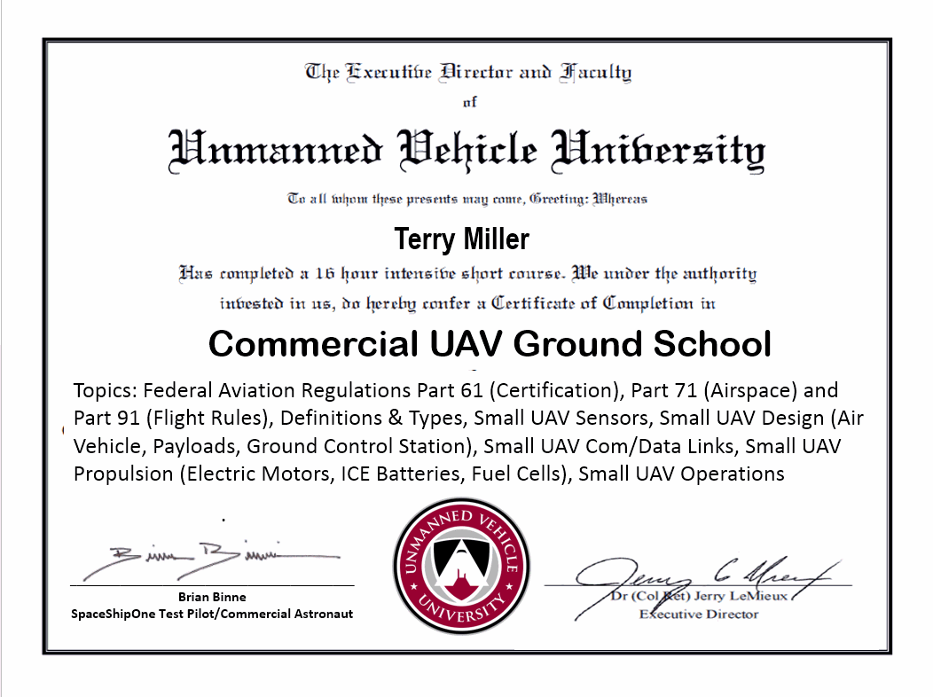 Commercial uav ground school unmanned vehicle university get your diploma in drone flying xflitez Image collections